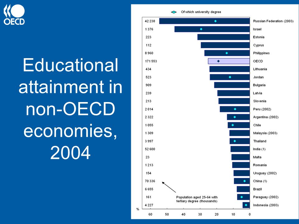 Educational attainment in non-OECD economies, 2004