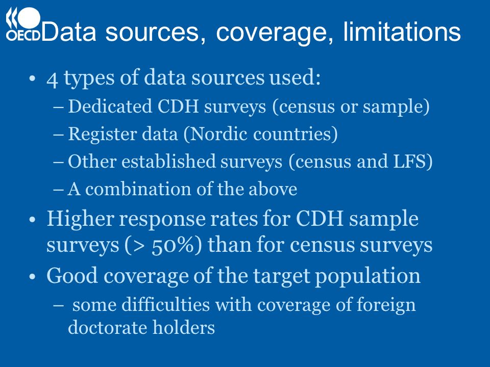 Data sources, coverage, limitations