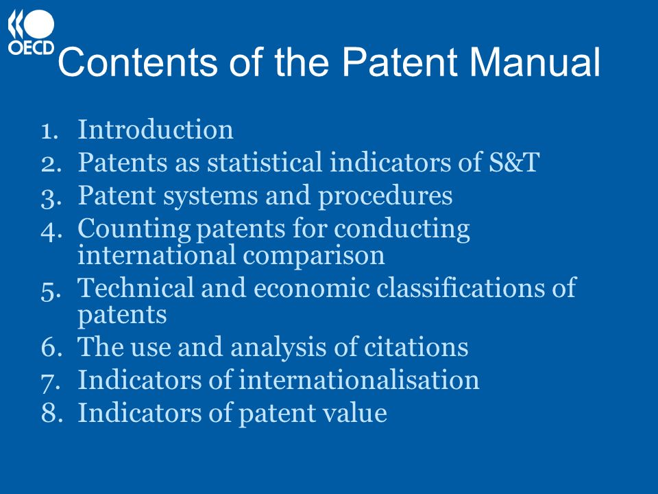 Contents of the Patent Manual