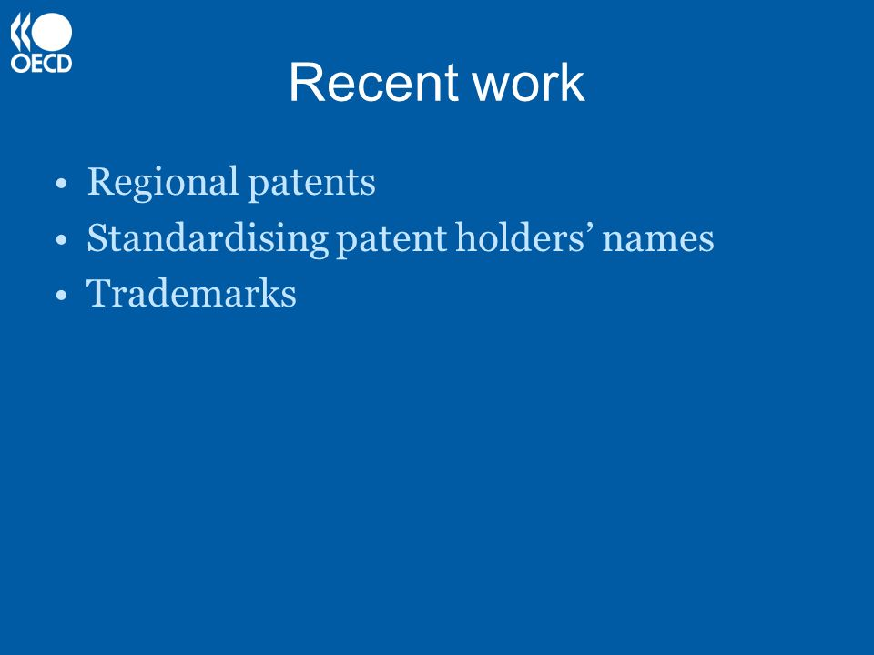 Recent work Regional patents Standardising patent holders' names