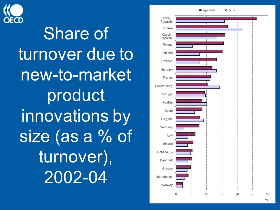 Share of turnover due to new-to-market product innovations by size (as a % of turnover), 2002-04