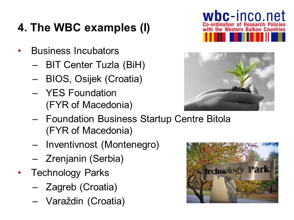 4. The WBC examples (I) Business Incubators BIT Center Tuzla (BiH)