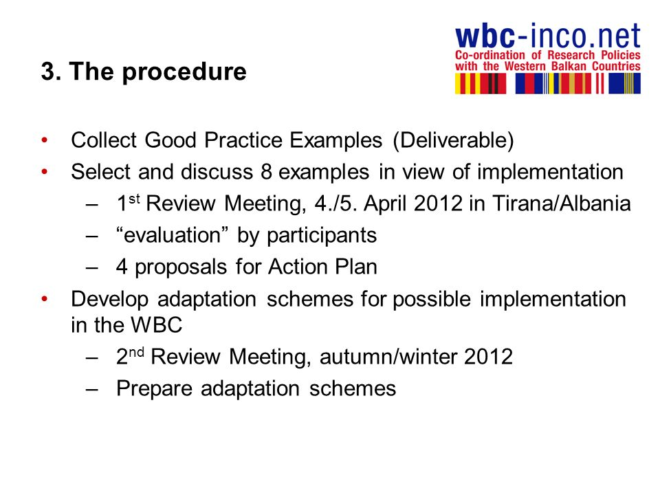 3. The procedure Collect Good Practice Examples (Deliverable)