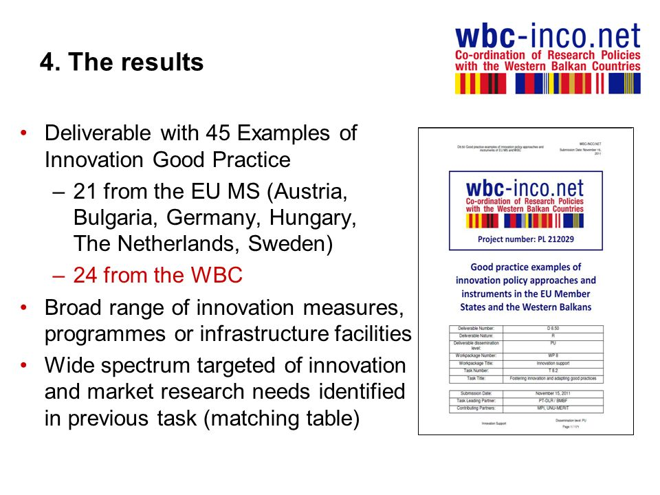 4. The results Deliverable with 45 Examples of Innovation Good Practice.