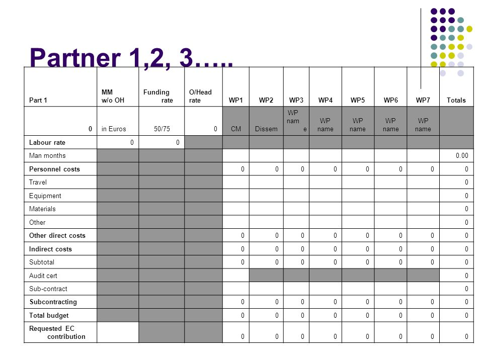 Partner 1,2, 3….. Part 1 MM w/o OH Funding rate O/Head rate WP1 WP2