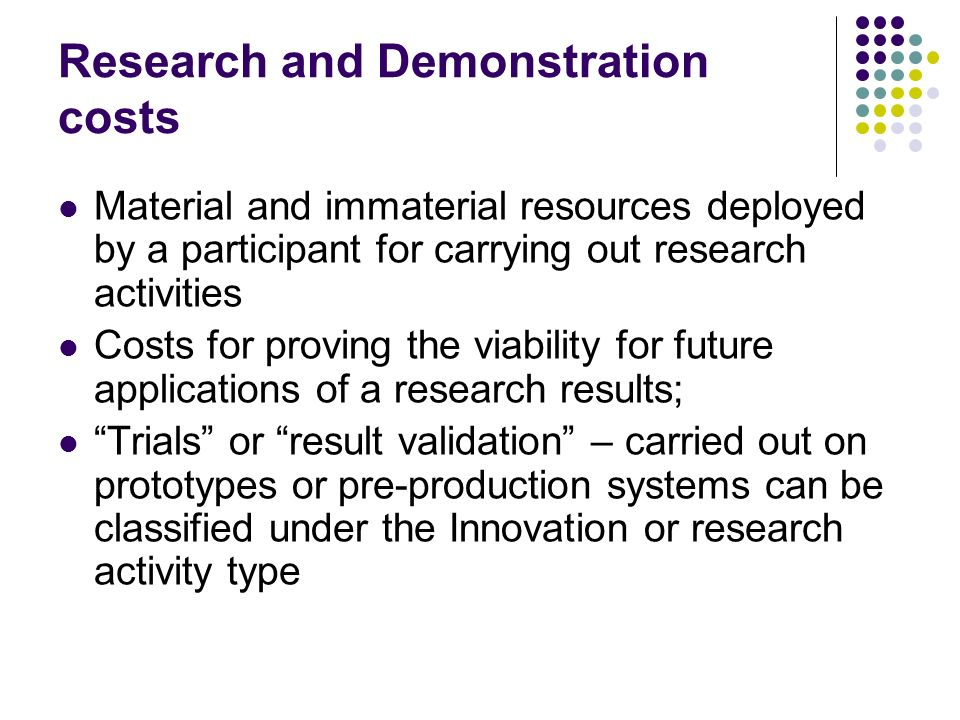 Research and Demonstration costs