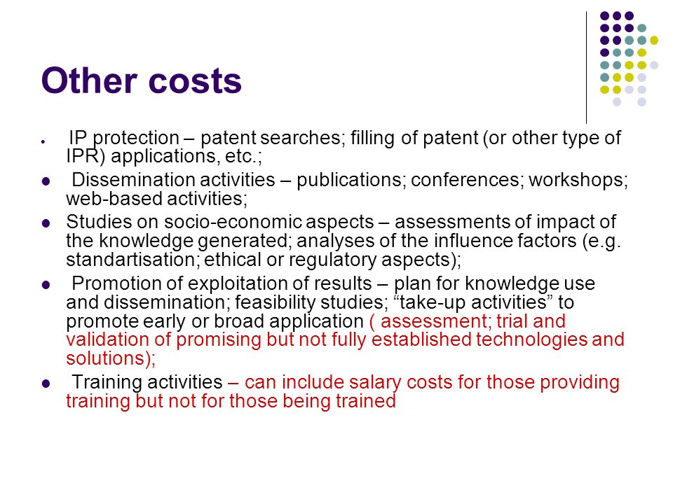 Other costs IP protection – patent searches; filling of patent (or other type of IPR) applications, etc.;