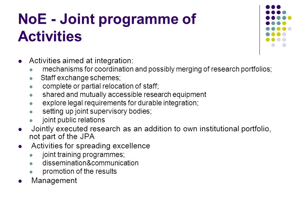 NoE - Joint programme of Activities