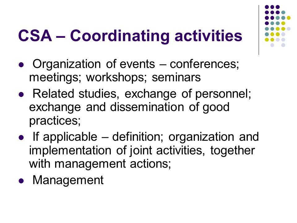 CSA – Coordinating activities