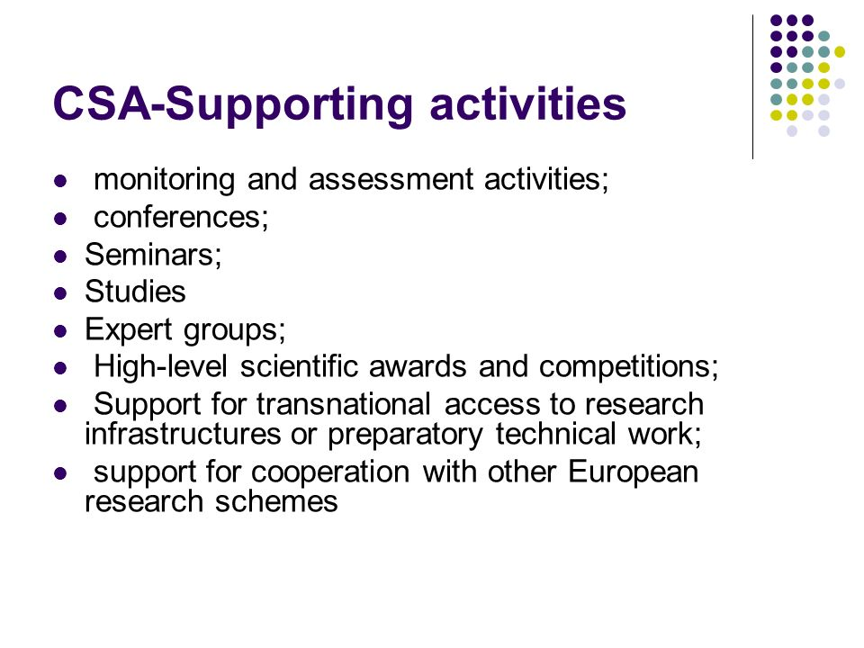 CSA-Supporting activities