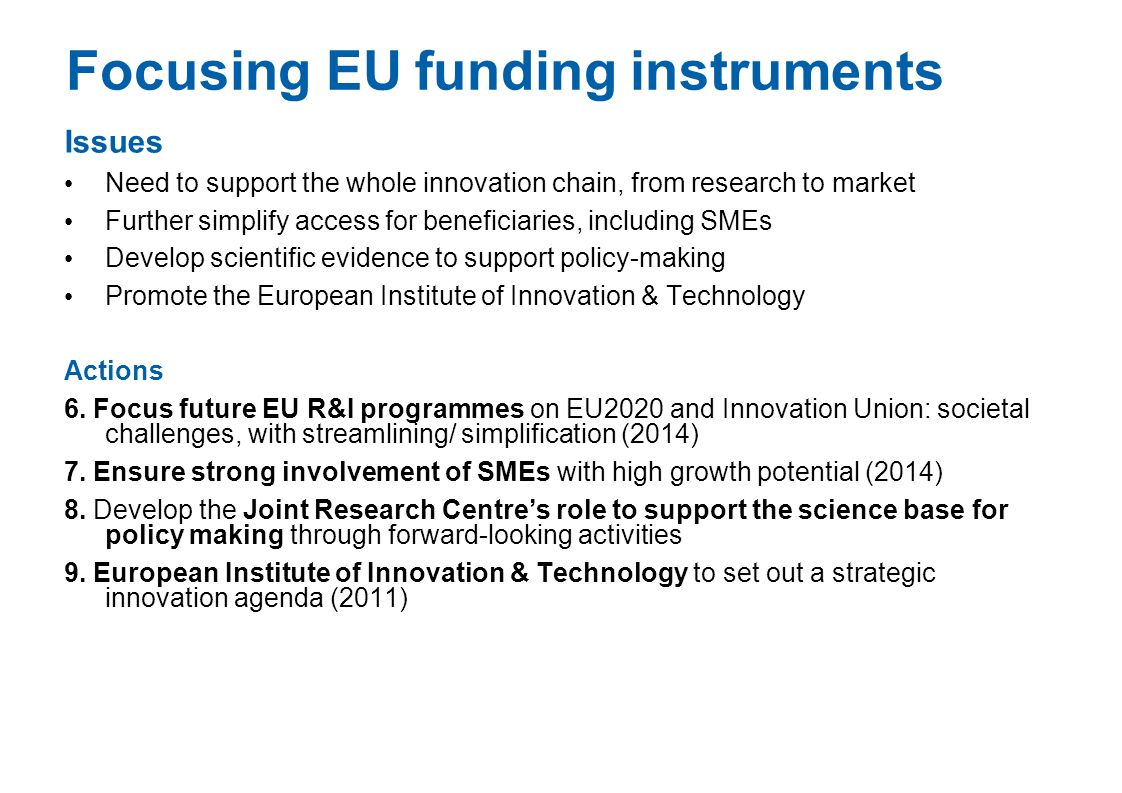 Focusing EU funding instruments