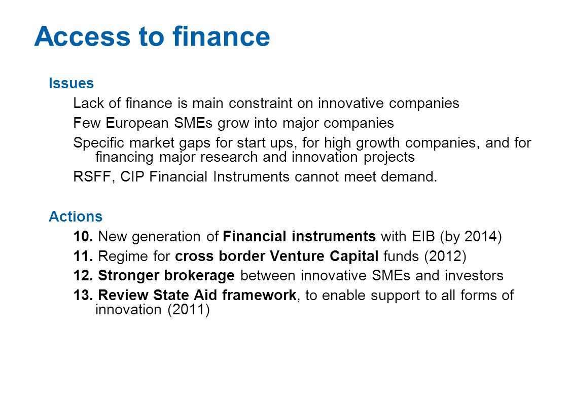 Access to finance Issues