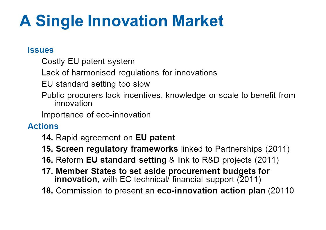 A Single Innovation Market