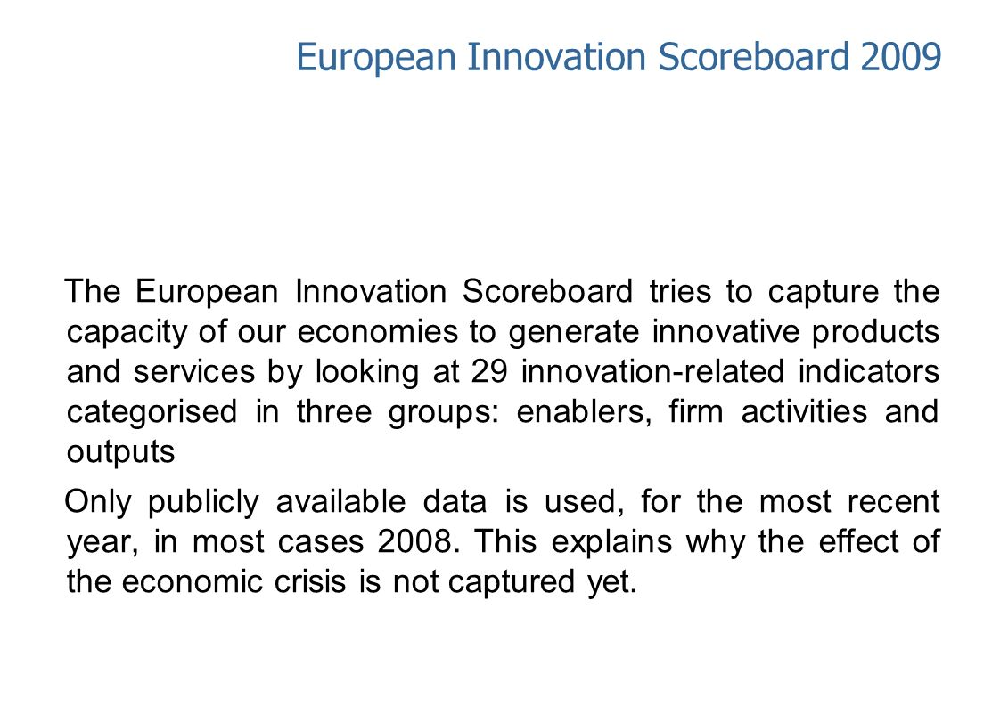 European Innovation Scoreboard 2009