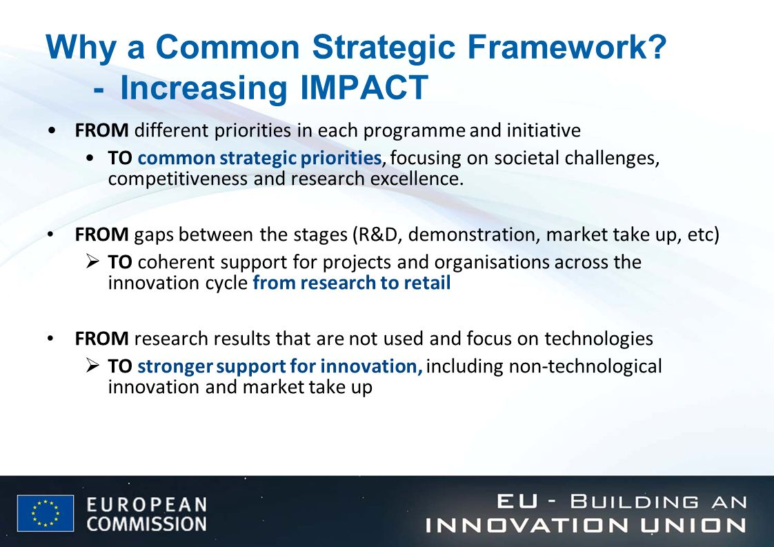 Why a Common Strategic Framework - Increasing IMPACT