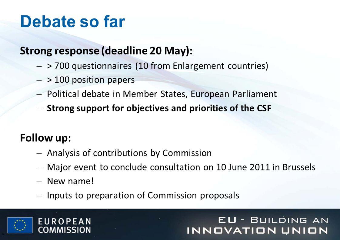 Debate so far Strong response (deadline 20 May): Follow up:
