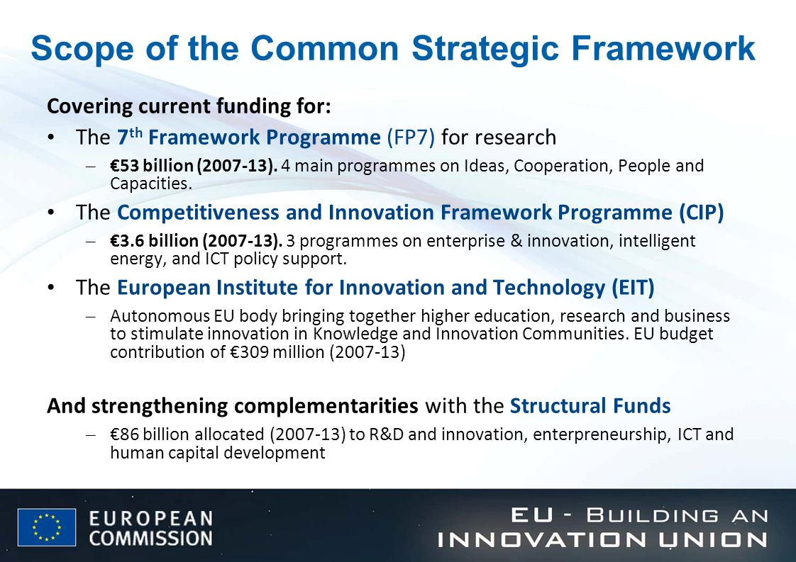 Scope of the Common Strategic Framework