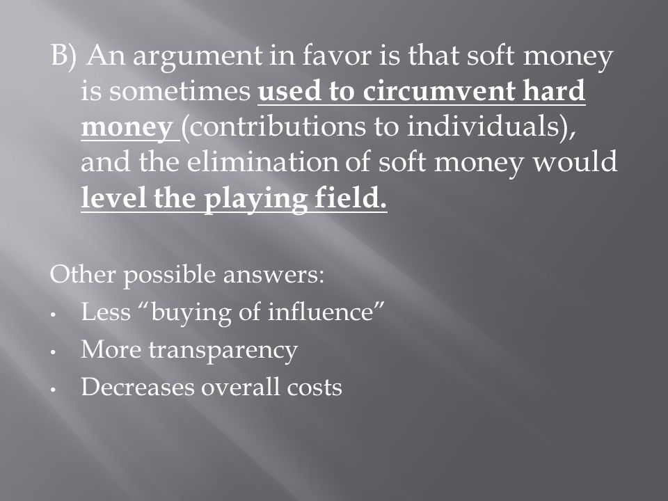 the argument in favor of the money and more money Money maker, in sports (3) pro  synonyms, crossword answers and other related words for argument in favour [pro]  an argument in favor of a proposal.
