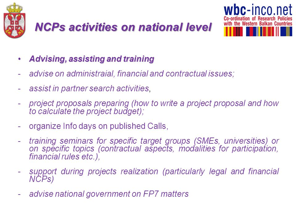 NCPs activities on national level