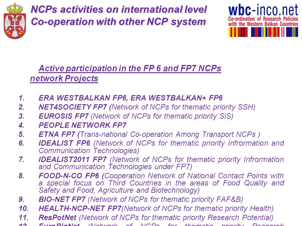 NCPs activities on international level Co-operation with other NCP system
