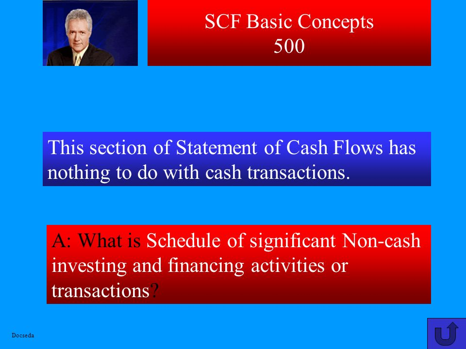 SCF Basic Concepts 500 This section of Statement of Cash Flows has nothing to do with cash transactions.