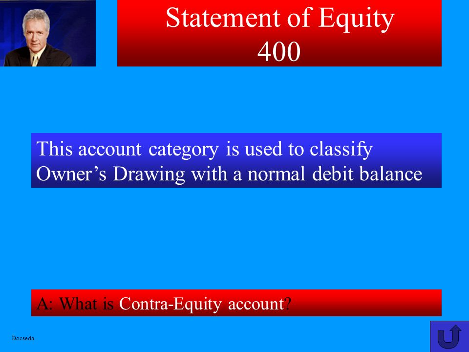 Statement of Equity 400 This account category is used to classify Owner's Drawing with a normal debit balance.
