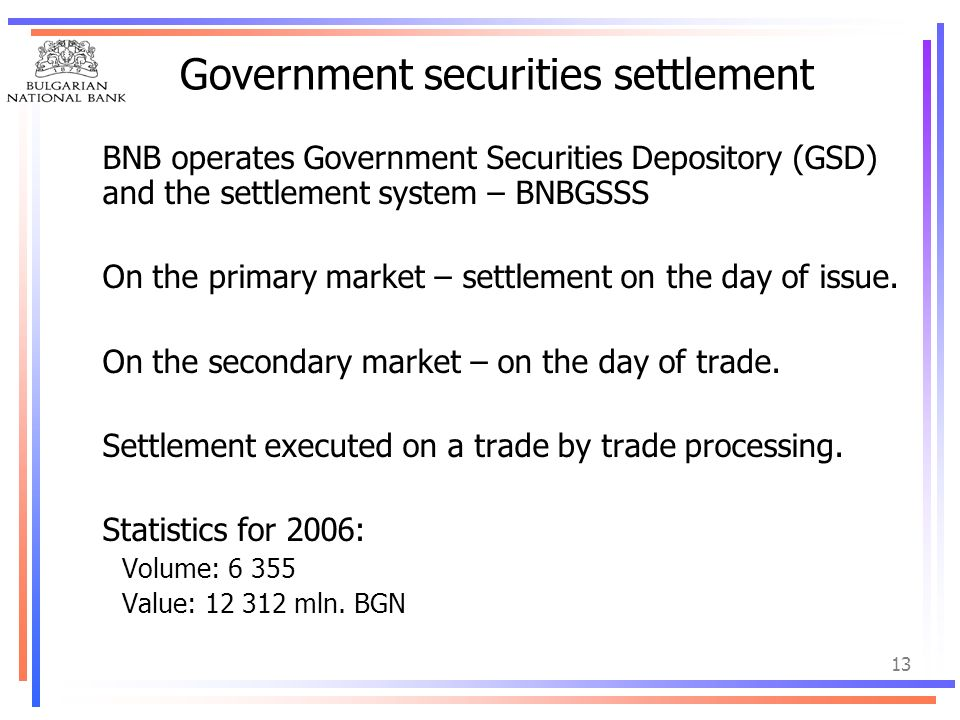 Government securities settlement