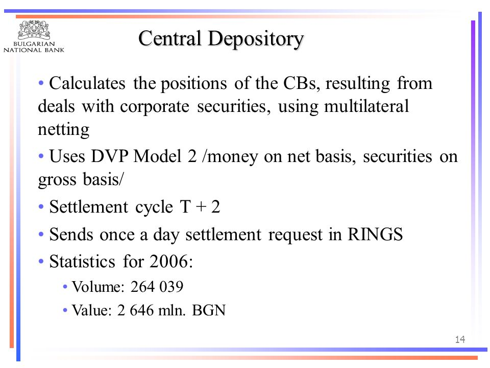 Central Depository Calculates the positions of the CBs, resulting from deals with corporate securities, using multilateral netting.