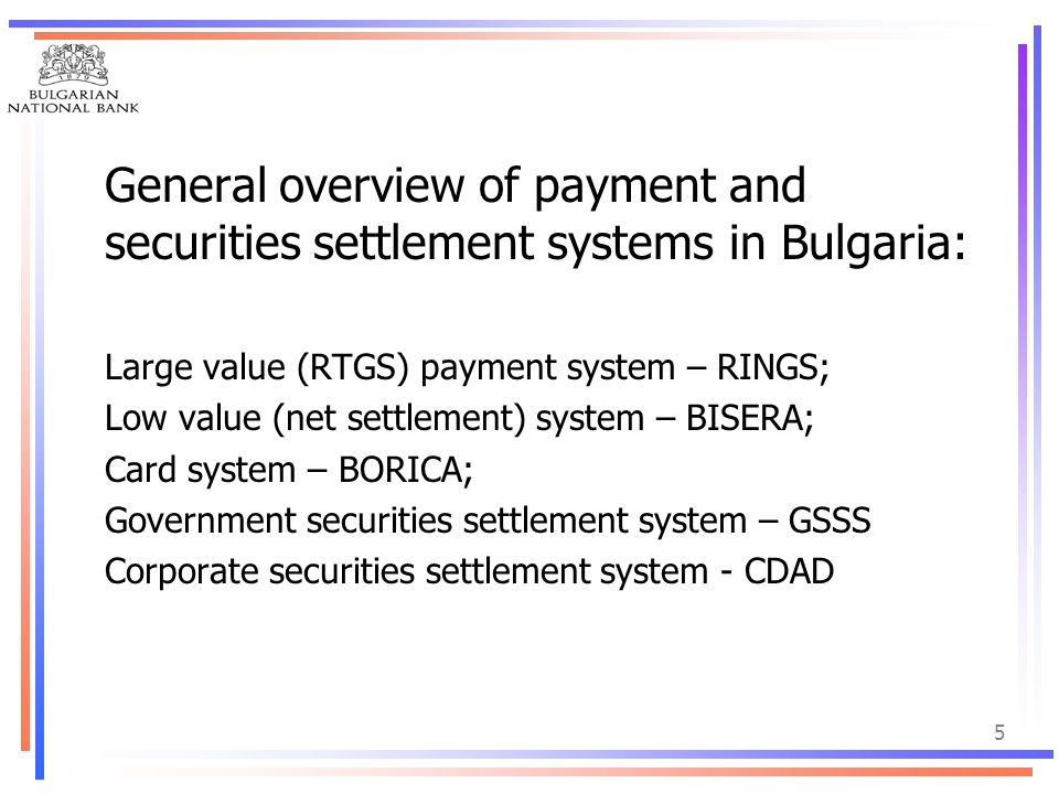 General overview of payment and securities settlement systems in Bulgaria: