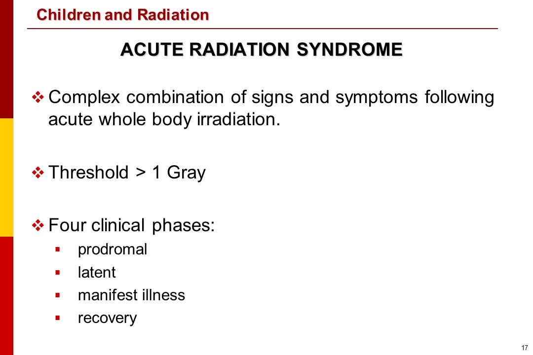 research paper on acute radiation syndrome Acute radiation syndrome, also known as radiation toxicity or radiation  in this  study leukine not only showed improved survival despite.