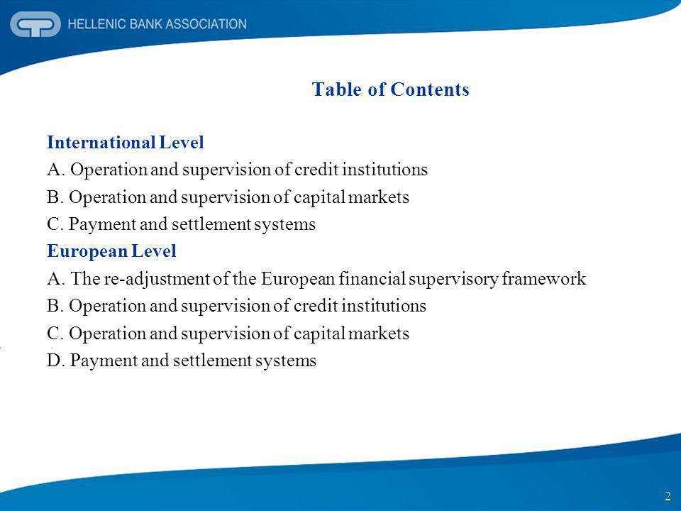 Table of Contents International Level