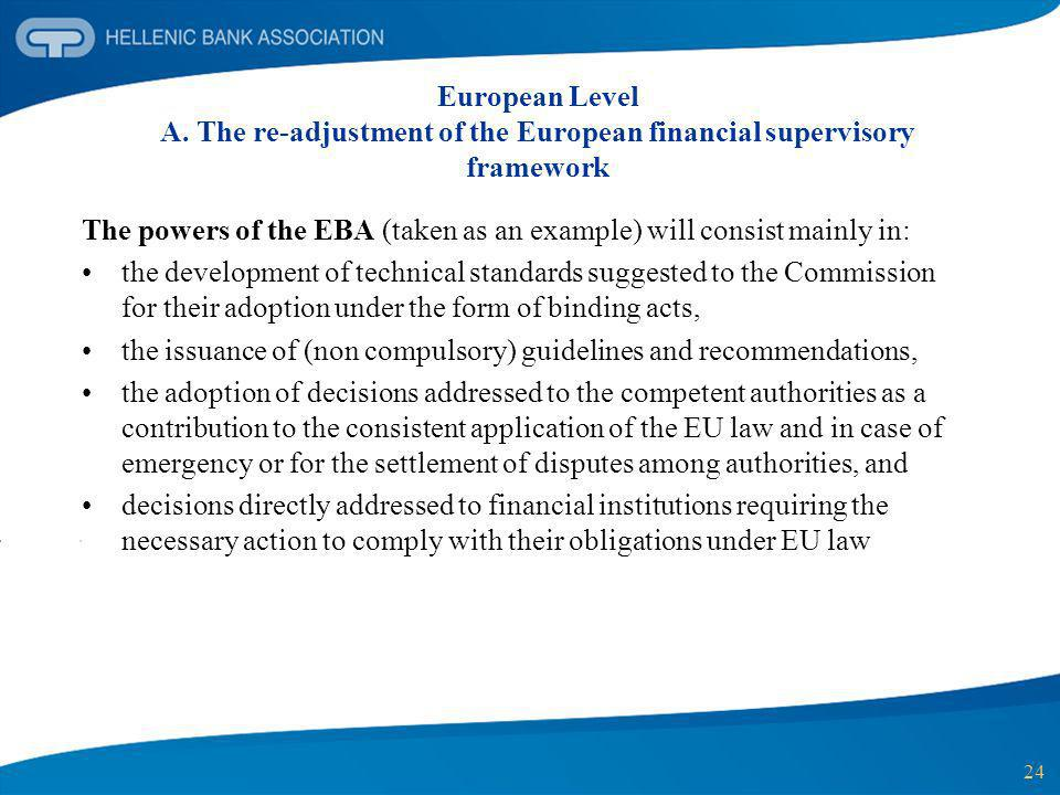 European Level A. The re-adjustment of the European financial supervisory framework