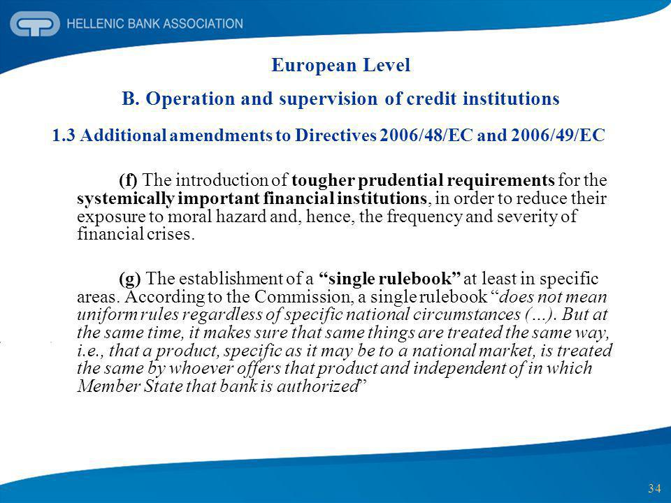 European Level B. Operation and supervision of credit institutions