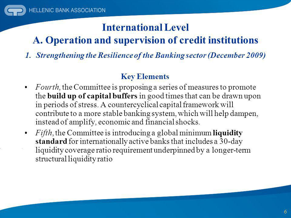 Strengthening the Resilience of the Banking sector (December 2009)