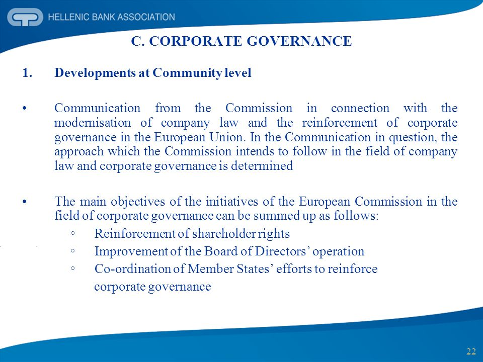 C. CORPORATE GOVERNANCE