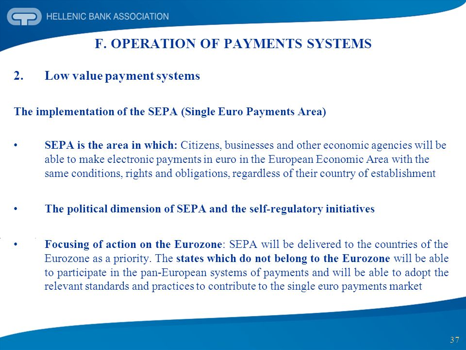 F. OPERATION OF PAYMENTS SYSTEMS