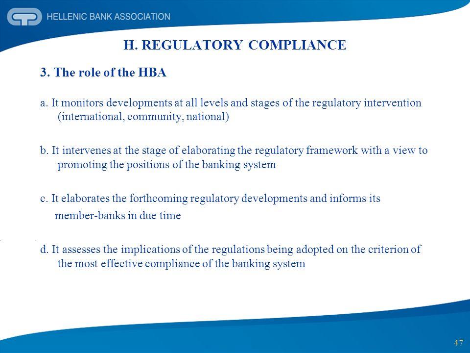 H. REGULATORY COMPLIANCE