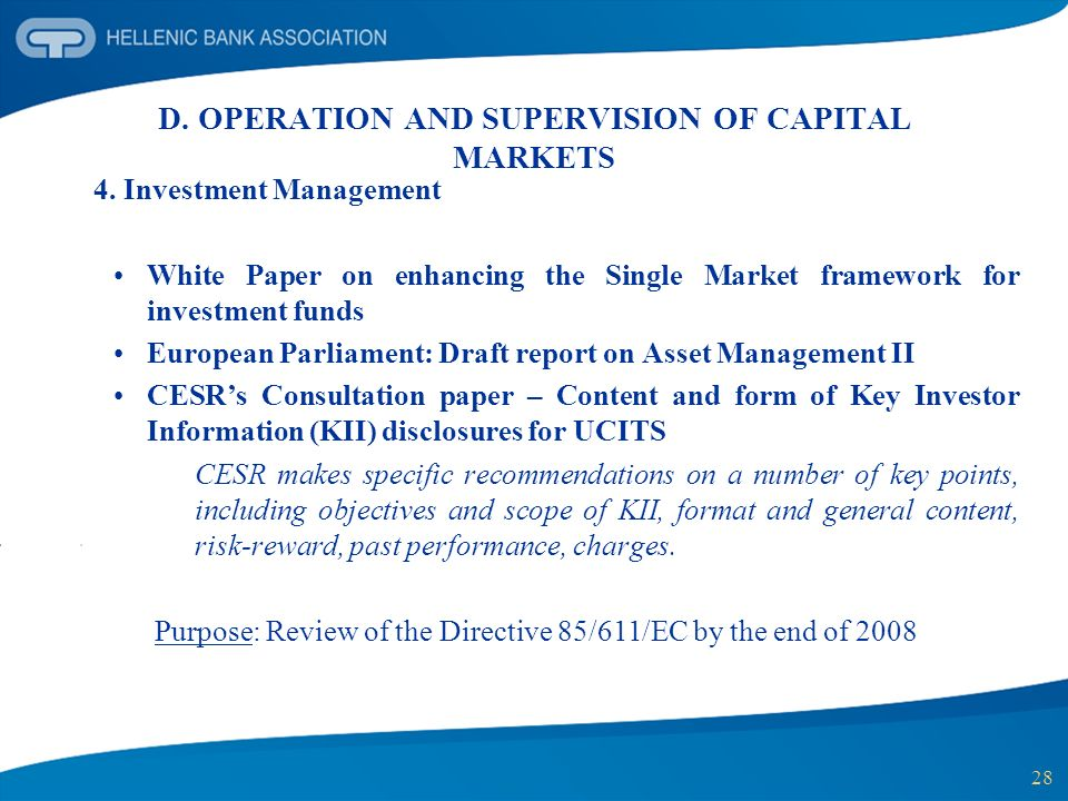 D. OPERATION AND SUPERVISION OF CAPITAL MARKETS