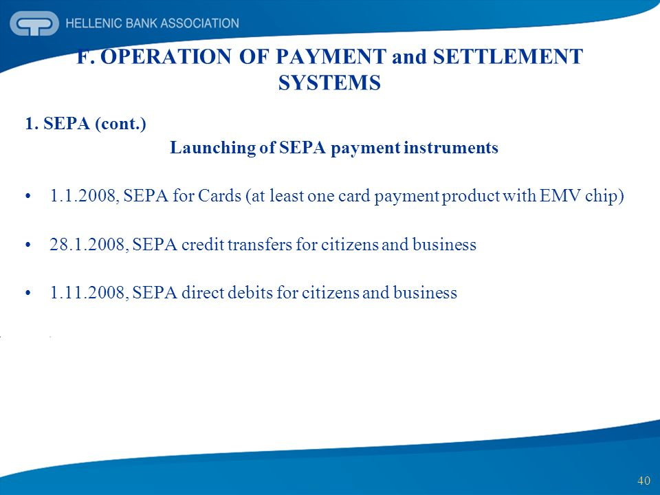 F. OPERATION OF PAYMENT and SETTLEMENT SYSTEMS