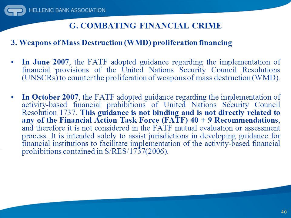 G. COMBATING FINANCIAL CRIME