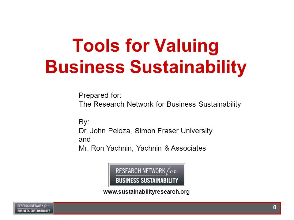 Tools for Valuing Business Sustainability
