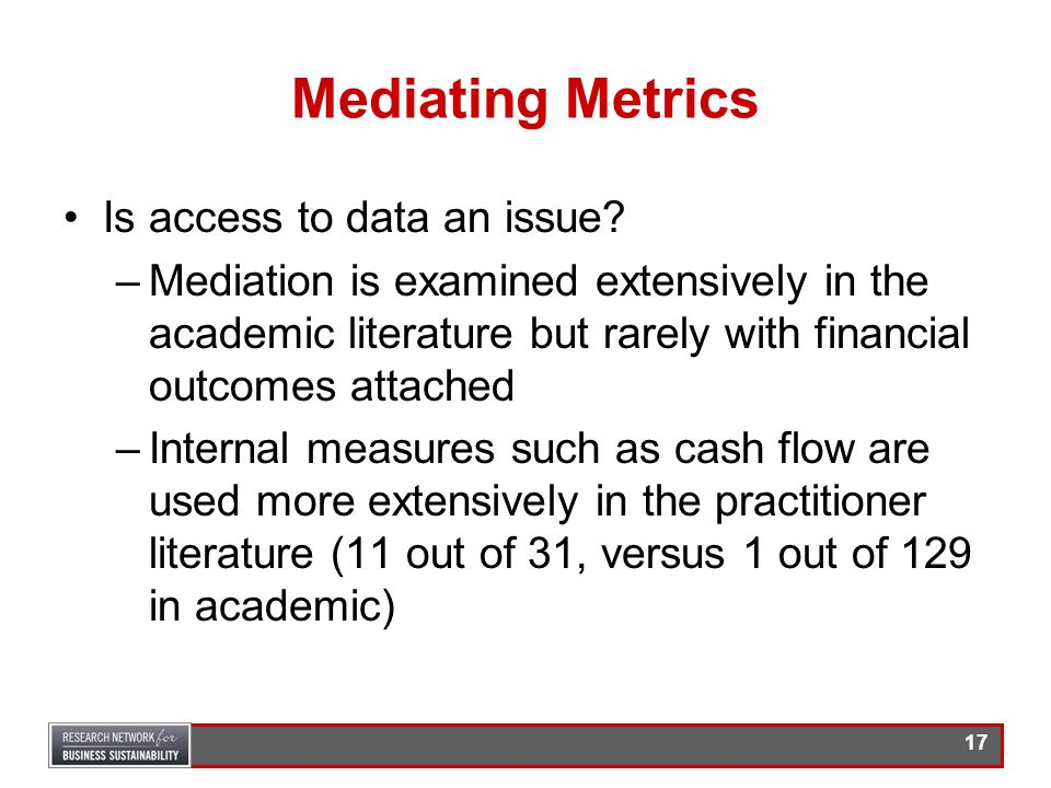 Mediating Metrics Is access to data an issue