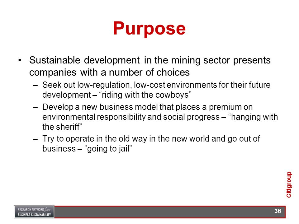 PurposeSustainable development in the mining sector presents companies with a number of choices.