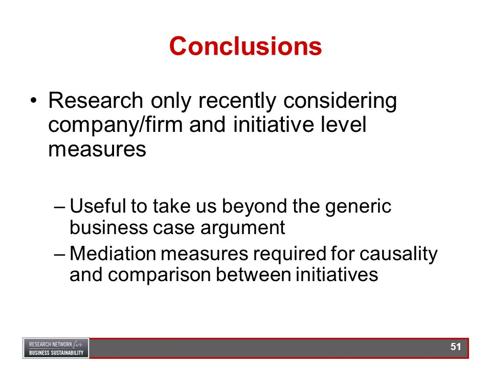 Conclusions Research only recently considering company/firm and initiative level measures.