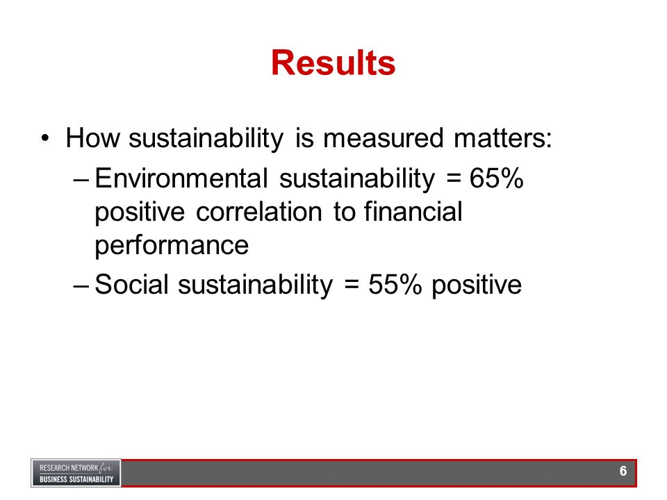 Results How sustainability is measured matters: