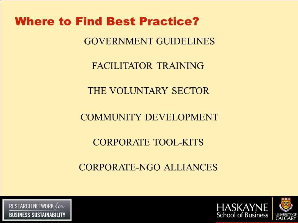 Where to Find Best Practice