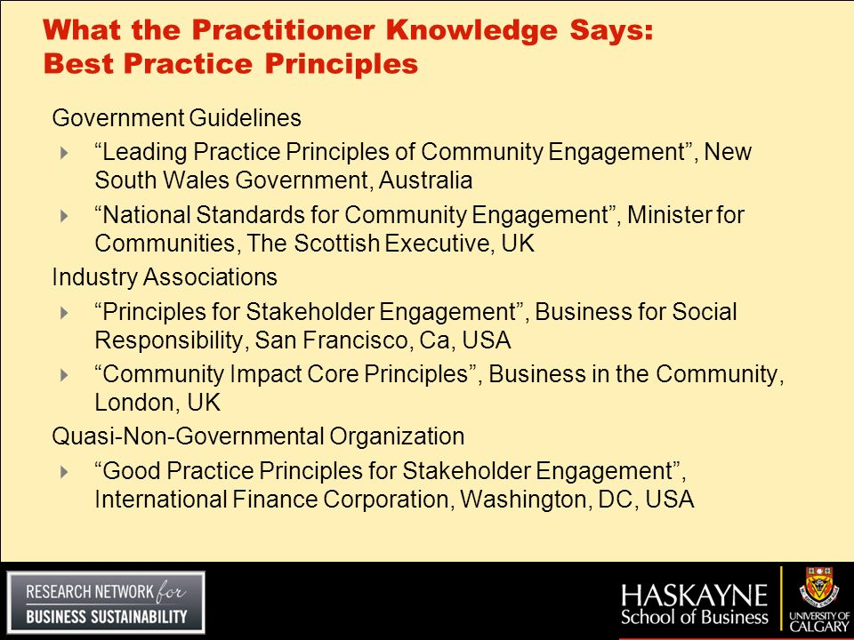 What the Practitioner Knowledge Says: Best Practice Principles
