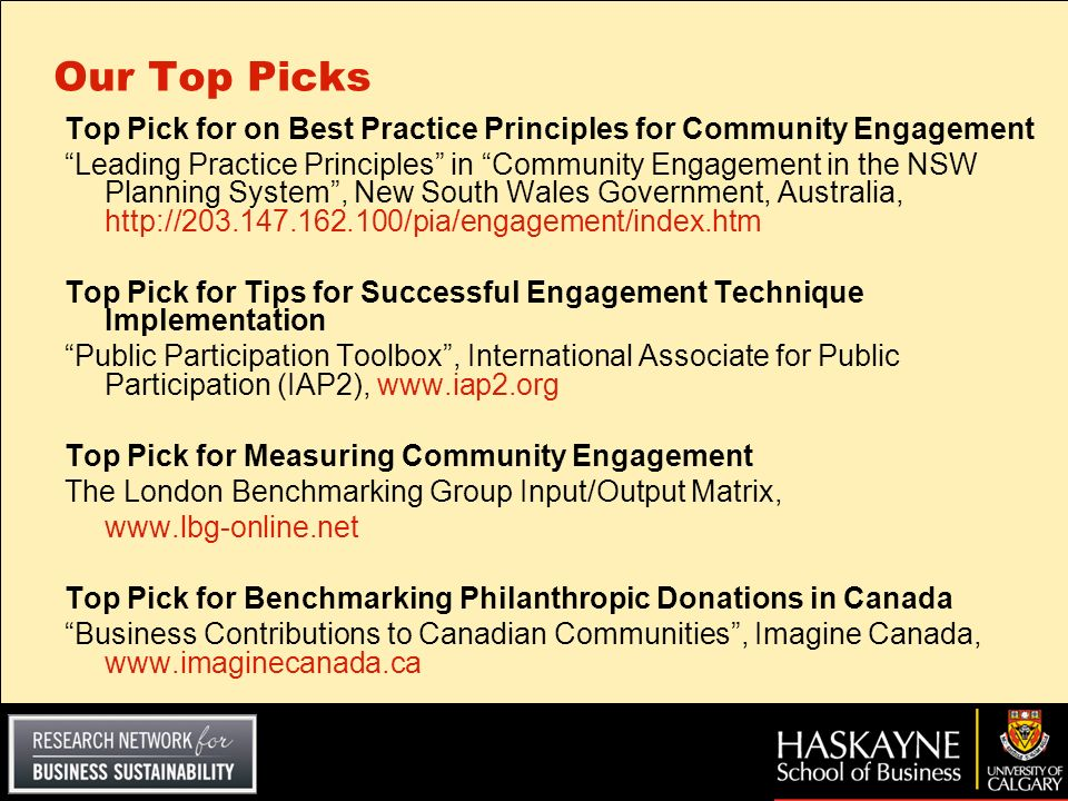 Our Top Picks Top Pick for on Best Practice Principles for Community Engagement.