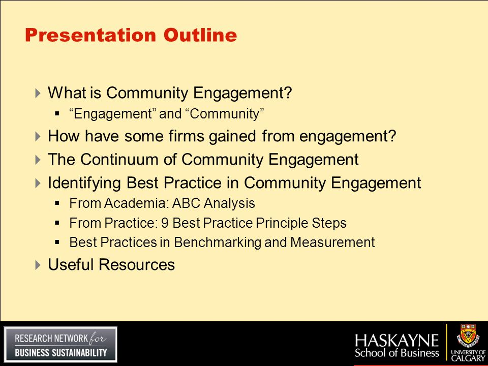 Presentation Outline What is Community Engagement