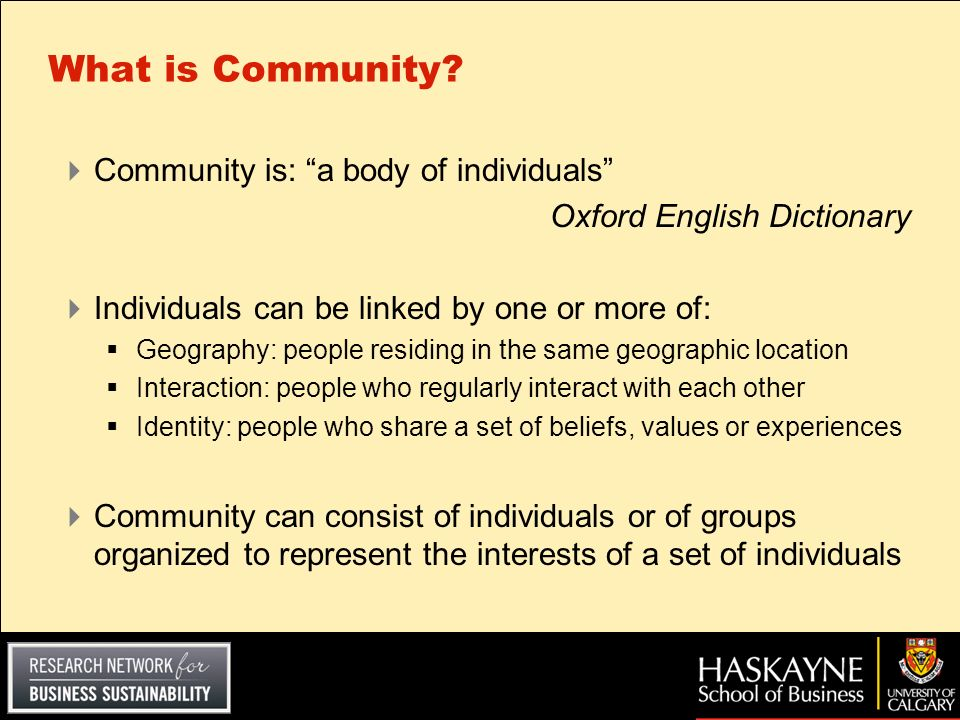 What is Community Community is: a body of individuals